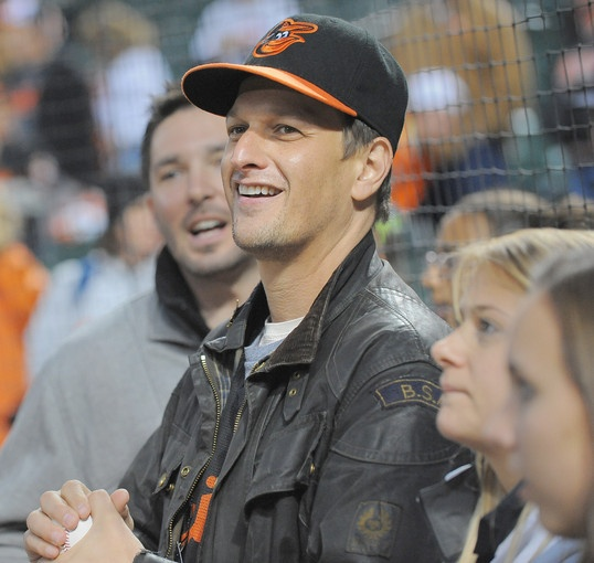 TV actor and Baltimore native Josh Charles watches batting practice fore game two of the ALDS.