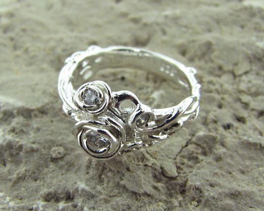 Rose Trellis Ring: Silver & Diamond $780.00Silver Diamonds, Diamonds 780 00, Diamonds 78000