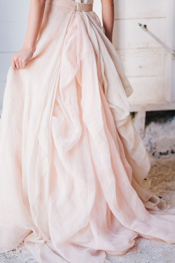 For the nontraditional bride, make a subtle statement with a rose quartz wedding gown.