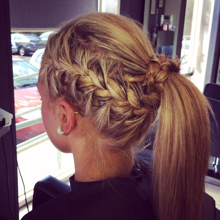 Blonde braid and pony