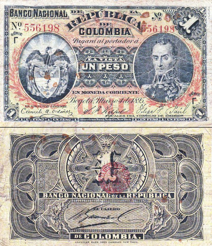 Billete de Colombia - (1890-1900) - 1 peso