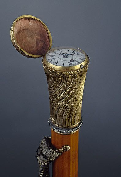 Wooden walking stick with a covered clock; English, mid-18th century