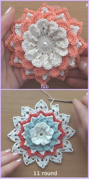 Easy Crochet 3D Flower Free Patterns-Video