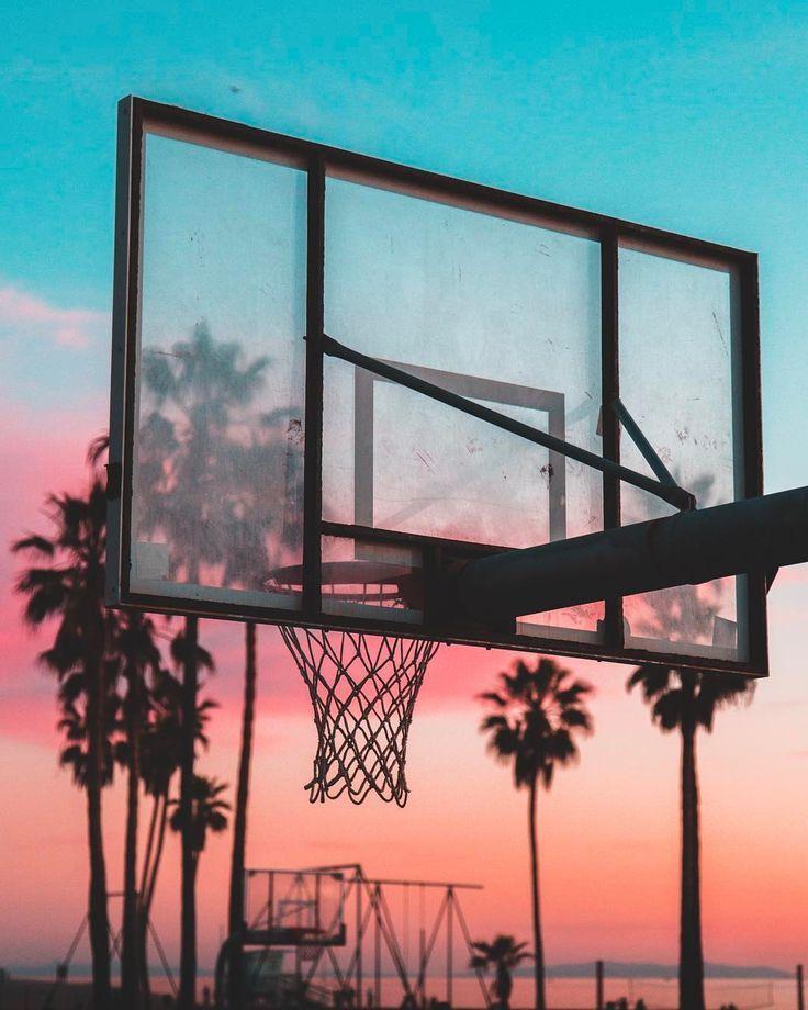 Sunset Basketball Hoop California Venice Beach Basketball
