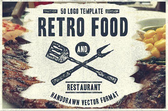50 Retro Food Logo by TSV Creative on @creativemarket