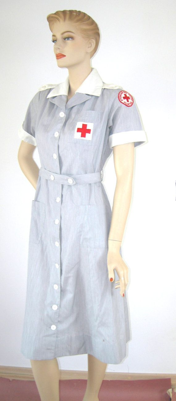 WWII Vintage 1940s 1950s AMERICAN RED Cross Uniform Volunteer Nurse Military Dress Matching Red Cross Hat Grey White Heather Vintage size 10