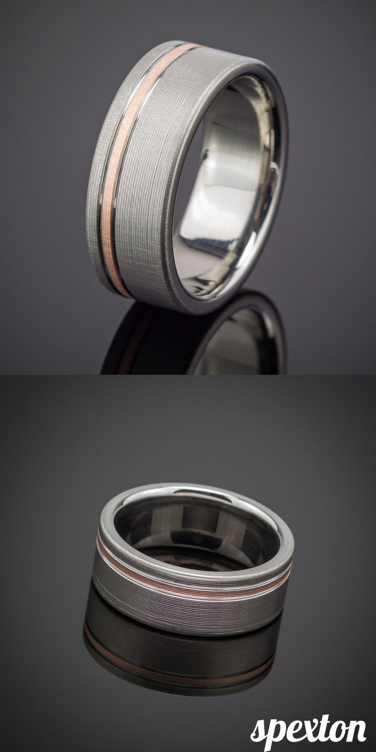 unique wedding bands for him gay wedding bands Rose Gold Pinstripe Flanked Ring