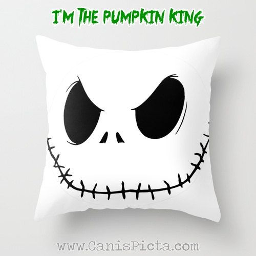 1 Jack Skellington Nightmare Before Christmas Throw Pillow 16x16 Graphic Print Cover Halloween Autumn Fall Pumpkin King Orange White Skull on Etsy, $35.00