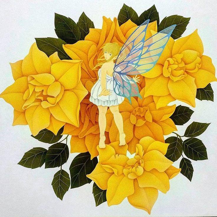 #イラスト#イラストレーション#女の子#妖精#蝶の羽#花イラスト#薔薇#バラ#ルナロッサ#メルヘン#お絵描き#手描き#エアブラシ#水彩#下書きから#線画#鉛筆#illustration#airbrush#watercolor#art#Flower#fairy#rose#Butterflywings