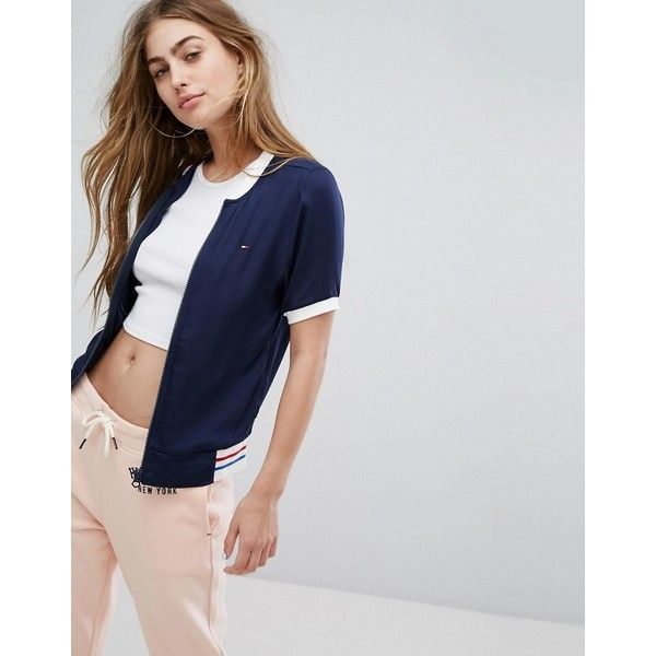 Tommy Hilfiger Logo Bomber Jacket ($100) ❤ liked on Polyvore featuring outerwear, jackets, blue, tall jackets, blue jersey, tall bomber jacket, lightweight jackets and blue bomber jackets