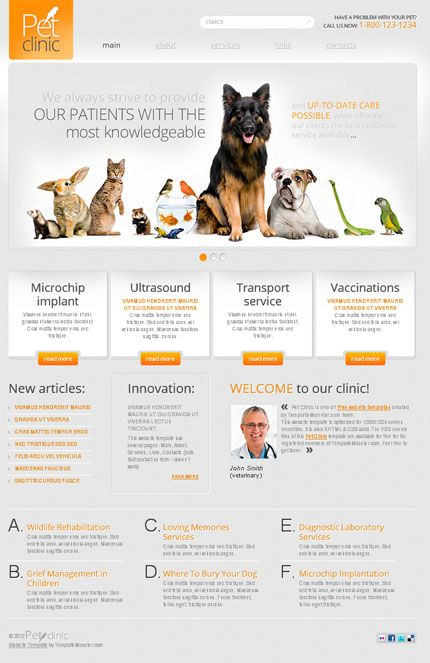 Free Website Template for Pet Clinic