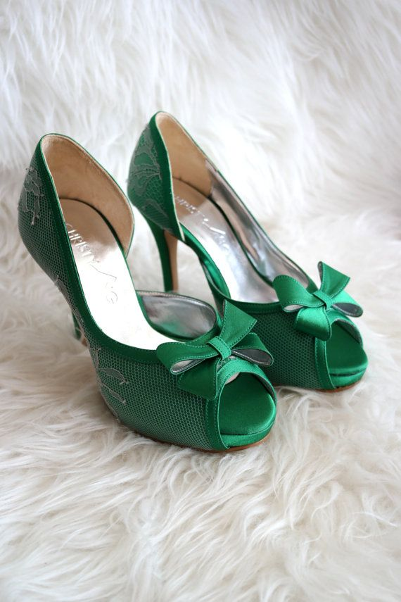 Custom Made Emerald Green Wedding Shoes Green by ChristyNgShoes