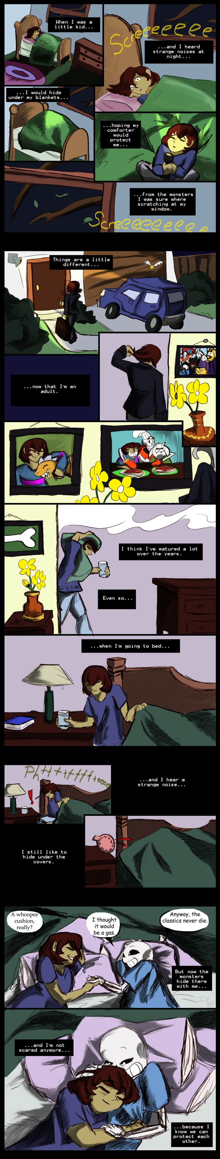 Undertale Comic: Hiding by IvyLeafTea on DeviantArt<<< I don't ship Frisk x Sans, I feel this is on a more family type of love