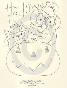 Halloween Hoot Halloween Hoot Primitive Halloween Owl, Cat and Jack O' Lantern Pattern, Epattern, E pattern, E-pattern by Chestnut Junction [SP489] - $1.99 : Chestnut Junction Primitive Patterns and E-patterns, Primitive Doll, Craft and Stitchery Patterns and Primitive E-Patterns and Primitive Digital Embroidery