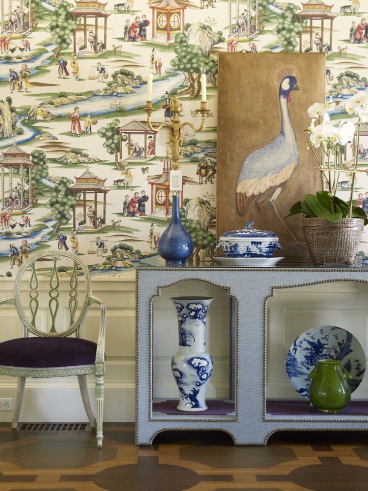 Scalamandre shanghai wallpaper pinterest chinoiserie for Chinoiserie wall mural