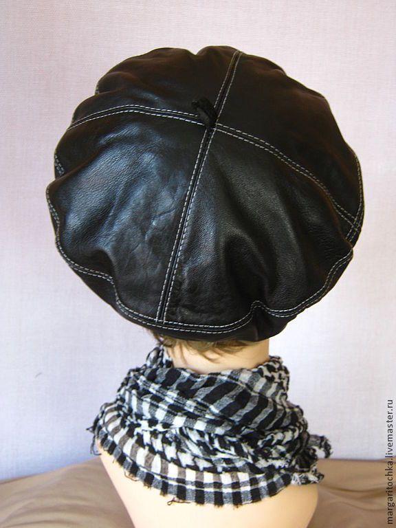 Купить Черный кожанный берет весна - чёрно-белый, весенняя шапочка, весенняя мода