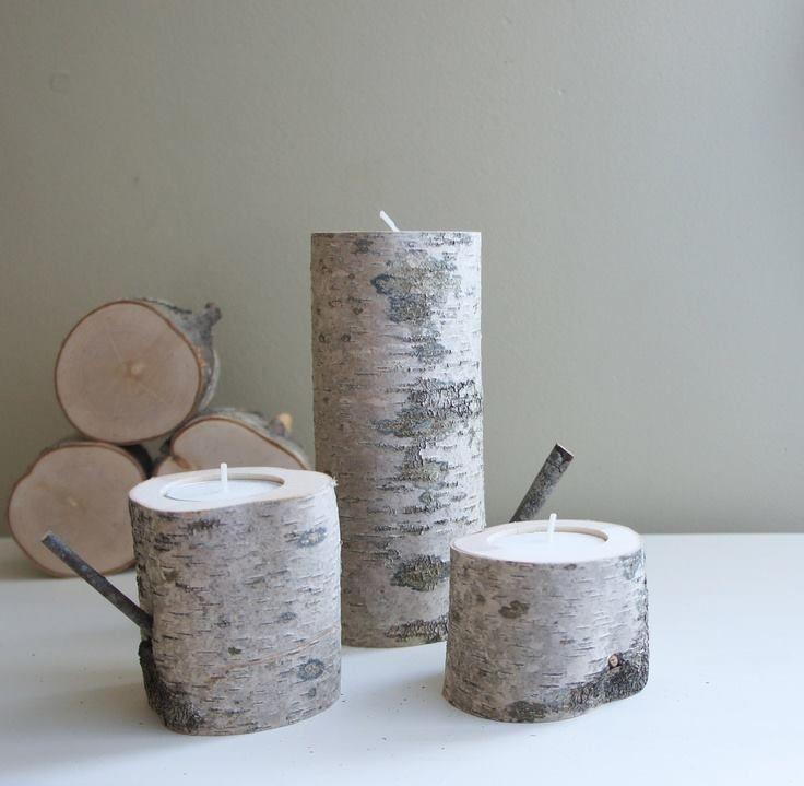 candele in tronchi di betulla