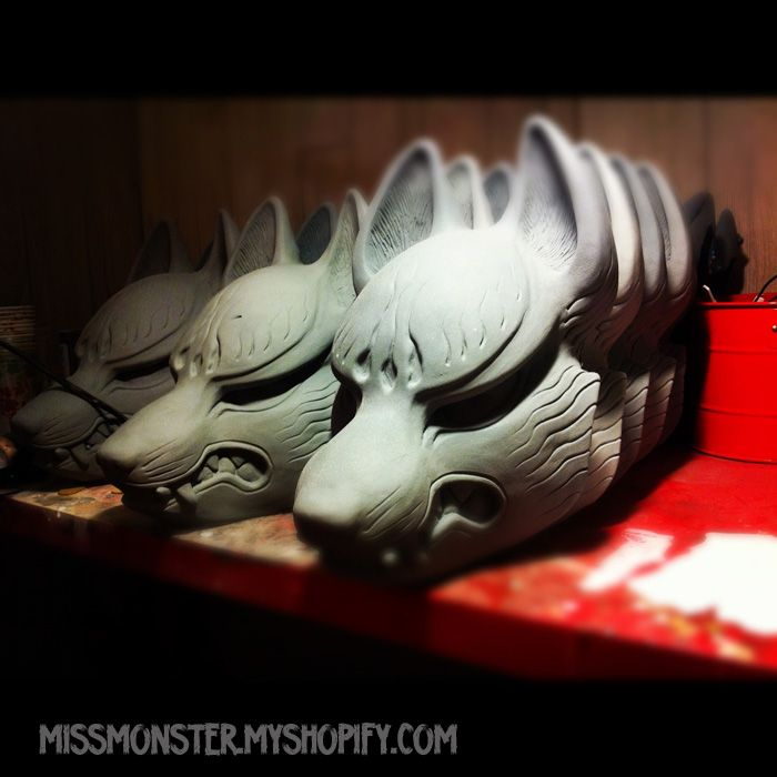 a series of kabuki masks made of clay airing  (Missmonster.com, 2014)
