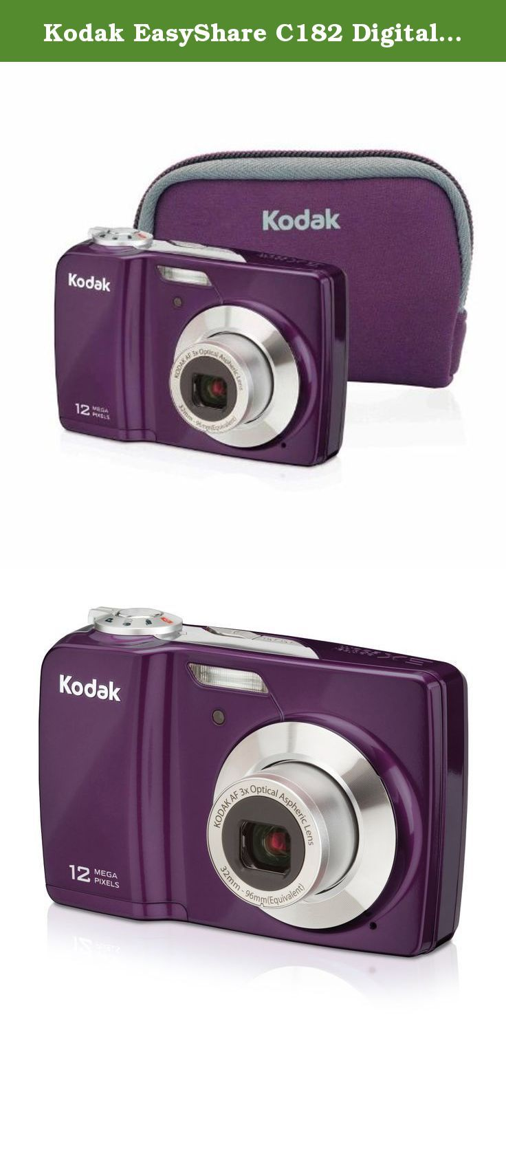 "Kodak EasyShare C182 Digital Camera Bundle(Purple). Share your world big and bright with the KODAK EASYSHARE C182 Plum Digital Camera Bundle. The camera gives you a gorgeous 3"" display and 12 MP so you can see your life in amazing detail - all at a great price. And with easy-to-use features like Smart Capture, taking extraordinary pictures is as easy as pushing a button.The matching Plum case provides style, value and security for your camera. If you like a good value, you'll love the…"
