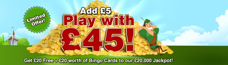 "Robin Hood Bingo Moto Is ""You Play We Give Away"" Check this Very Limited offer out deposit £5 & Play WITH £45 £20 Free &£20 in Bingo cards to play for a £20,000 JACKPOT! Find Us Online For More Amazing Giveaways, Good Luck initto-winit http://www.initto-winit.com/bingo/robin-hood-bingo/"
