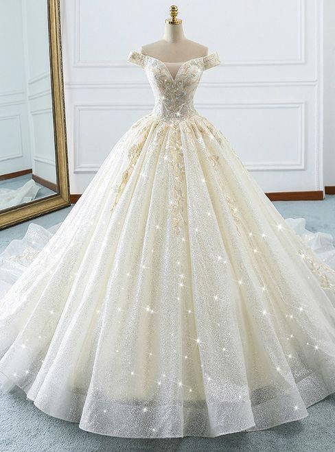 Champagne Ball Gown Off The Shoulder Tulle Sequins Wedding Dress   weddingideas d5f85249fe3b