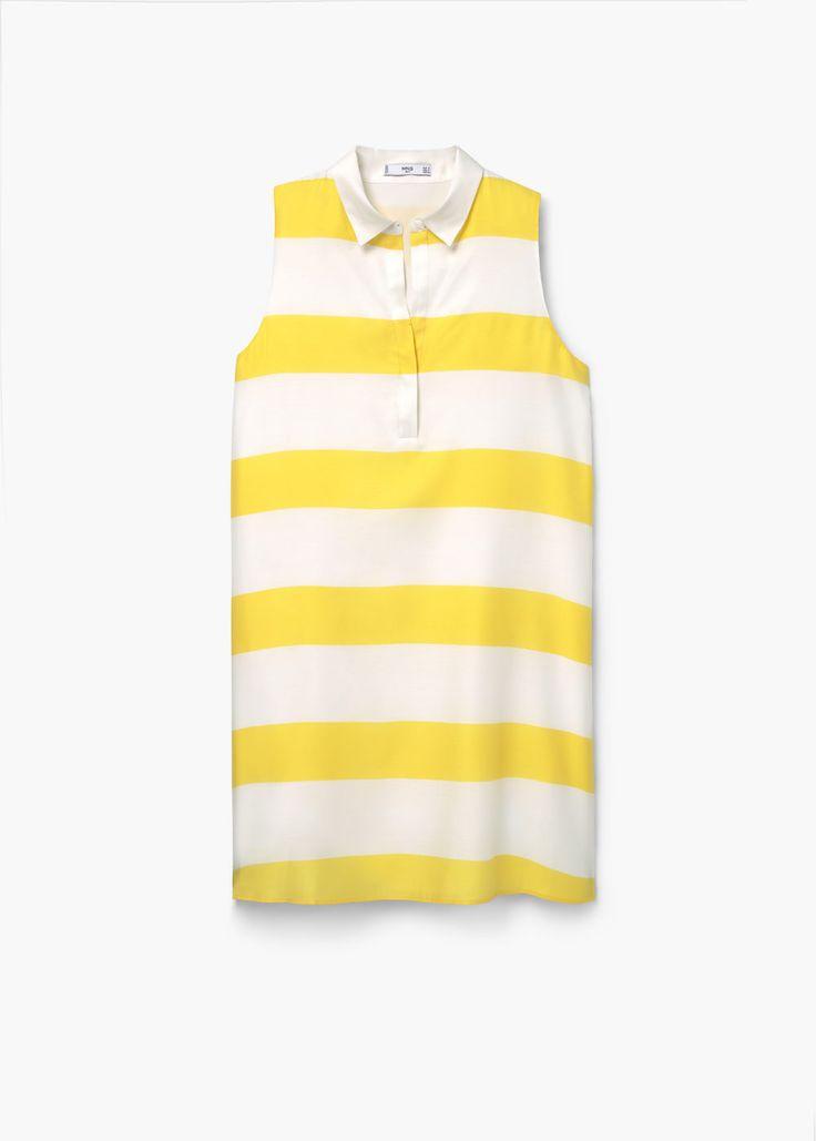 Платье-рубашка в полоску | MANGO МАНГО