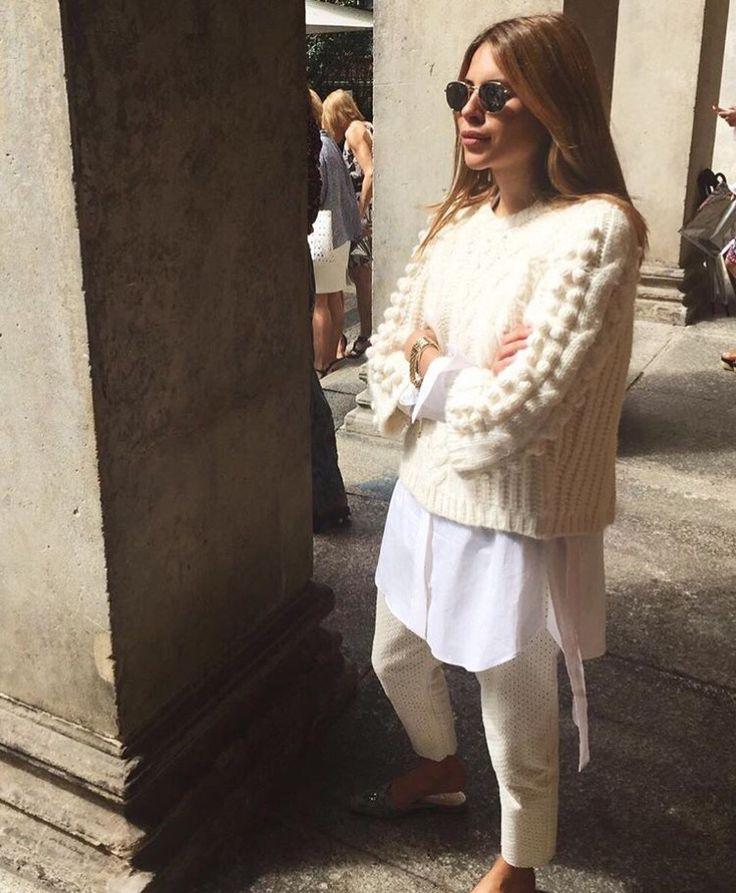 White Sweater with Pom Pom