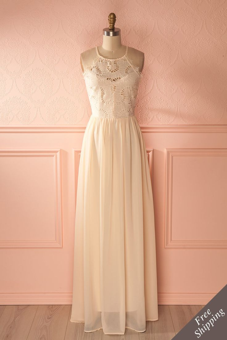 Longue robe de mariage bohème crème, croselet en dentelle, jupe de toile - Ivory maxi boho bridal dress, lace bodice, tulle skirt