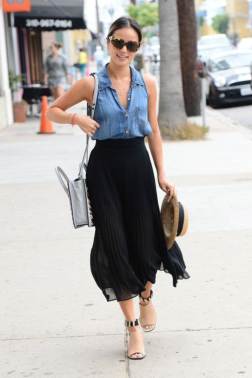 Denim and flowing black skirt. Pretty yet casual