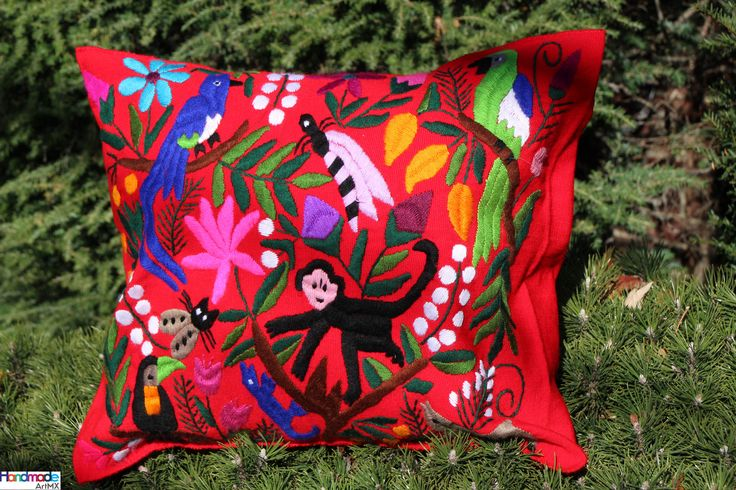 Hand Embroidered Red Cushion cover