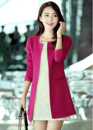 Skinny Round Neck Long Sleeve Rose Polyester Suits