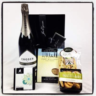 Croser Champagne Gourmet Gift Hampers. A stylish treat including iconic South Australian Port Willunga Fine Foods Gourmet Wine Platter Pack with dukkah and olive oil. Perfect for that take away picnic! At $110 Click here to purchase: http://www.justcorporate.net.au/gifts/all-gifts/croser-deluxe/