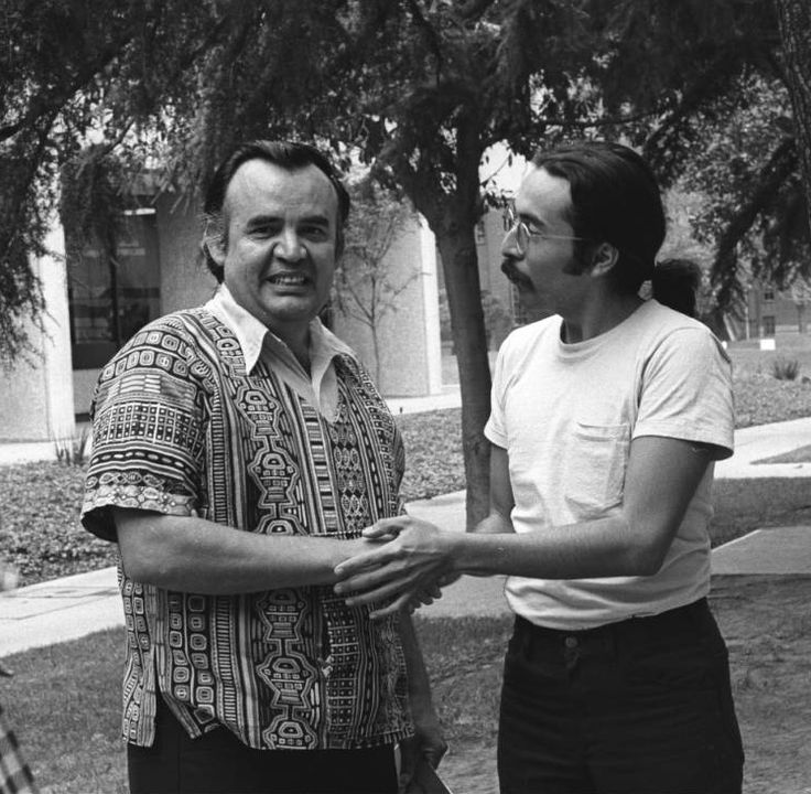 Festival de Flor y Canto, 1973: Films and Photographs - Photograph of Chicanos Frank Sifuentes and Juan Felipe Herrera at the Festival de Flor y Canto, University of Southern California, Los Angeles, 1973.
