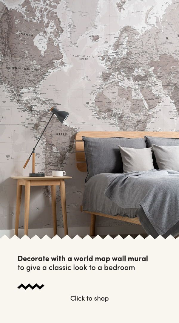 Neutral World Map Wallpaper Stylish Map Mural Muralswallpaper Classic Interior Design Craftsman Home Interiors Interior Design Styles