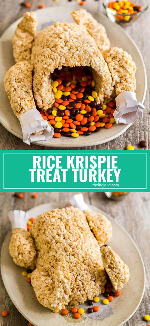This Rice Krispie Treat Turkey is a super-fun dessert option for both kids and adults! I could not believe how quick and easy it was to make- everyone LOVED it! Such a fun addition to any Thanksgiving dessert table! via @thelifejolie