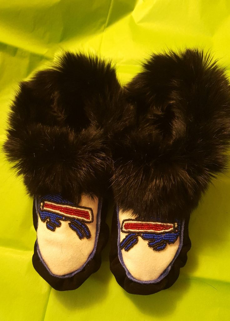 #Custom moccasins #hand beaded suede Melton wool and fur
