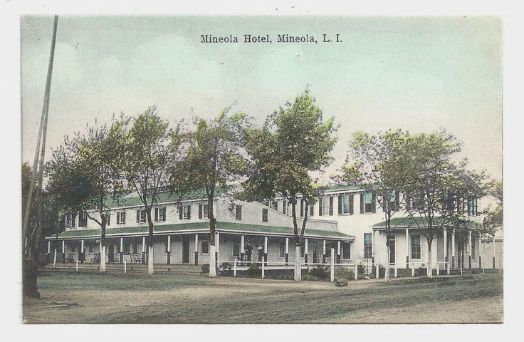 1907 Mineola Color Postcard Of The Hotel On Corner Front Street
