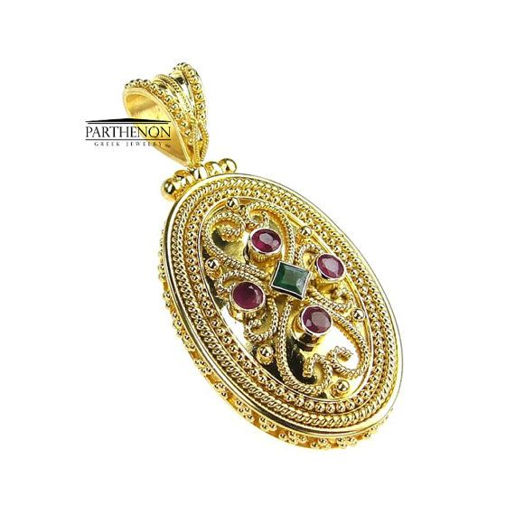 Parthenon Greek 18k Gold Byzantine Pendant by ParthenonGreekJewels