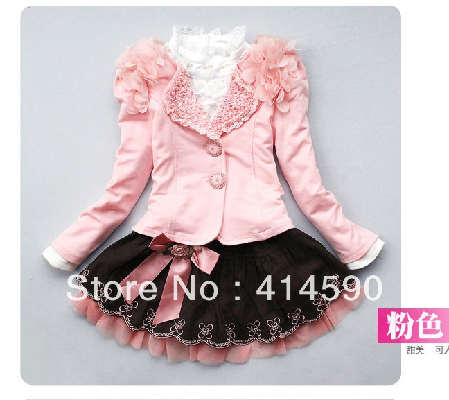 Free shipping   Girls skirt Autumn children's clothing girls sweater three piece skirt suit baby skirt princess 4set/lot-in Dresses from Apparel & Accessories on Aliexpress.com