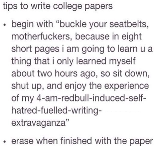 Tips for writing college papers. Hahahaha