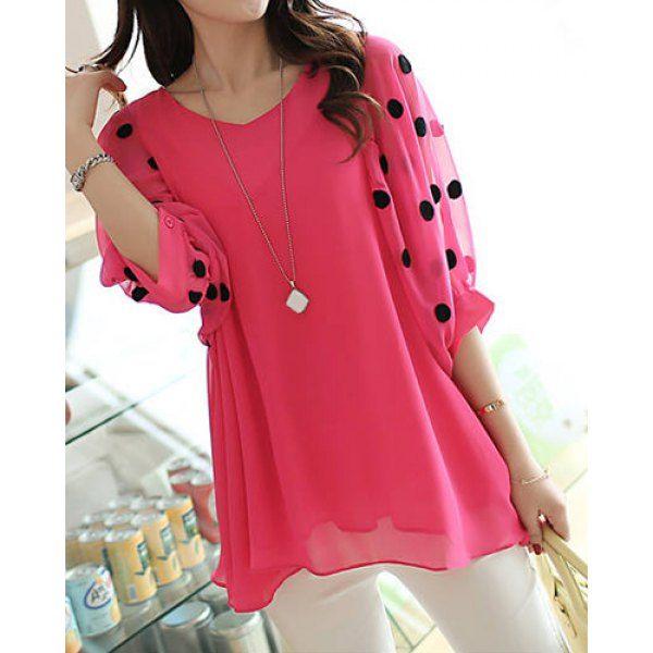 Stylish V-Neck 3/4 Sleeve Polka Dot Loose-Fitting Chiffon Women's Blouse, PLUM, XL in Blouses | DressLily.com