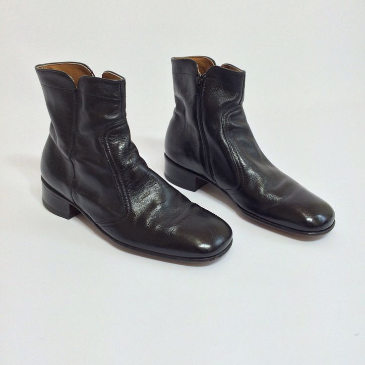 70s Black Leather Ankle Boots Mod Beatle Boot Zip Up Motorcycle ...