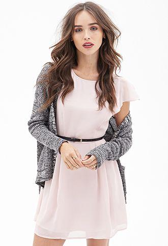 Belted Cap Sleeve Dress   FOREVER21 - 2000105093