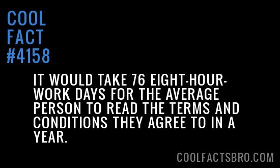 It would take 76 eight-hour-work days for the average person to read the terms and conditions they agree to in a year.