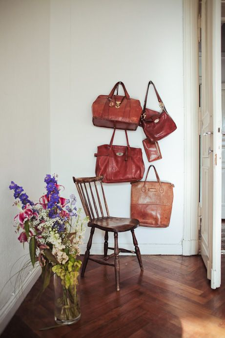 I want to hang all my bags like this! Need more bags...  Malin Elmlid's apartment by Freunde von Freunden