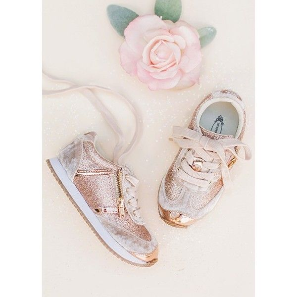 Ari Sneaker in Rosegold ($64) ❤ liked on Polyvore featuring shoes, sneakers, rose gold trainers, rose gold sneakers, sparkly shoes, sparkly sneakers and rose gold shoes