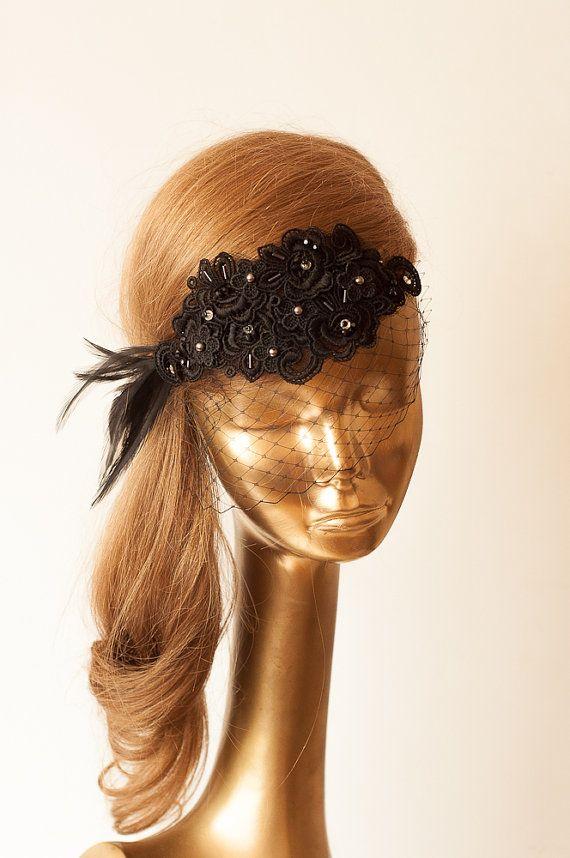 BIRDCAGE VEIL. Black Veil .Romantic Wedding Headpiece with beautiful,delicate Guipure LACE Flowers.Bridal Fascinator