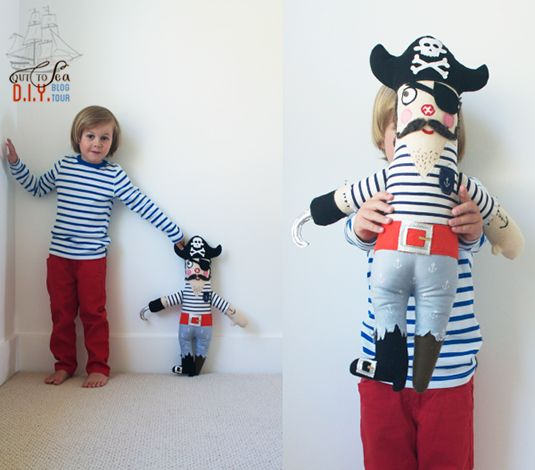 Cute Cute Cute!!! blog pirate doll tutorial with OUT TO SEA fabric by #sarahjane and #onemoremushroom
