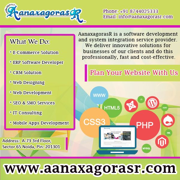 Plan Your Website with us. We build the websites as per business models. visit: http://www.aanaxagorasr.com/webdesign.php Or Call- +918744025333