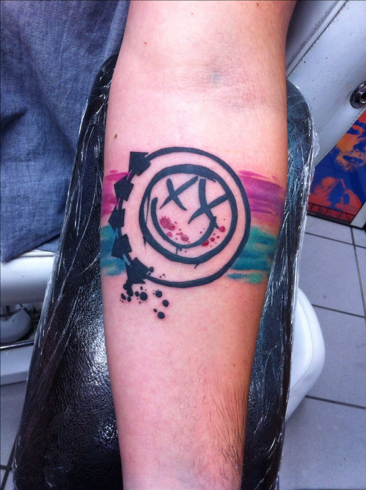 Blink-182 Tattoo! Self Titled Logo w/ Watercolor Arm Bands, done at Think Ink Tattoos in Woodland Hills, CA.